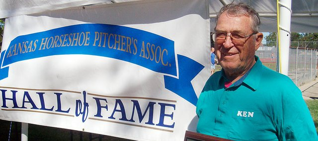 Ken Martin of rural Baldwin City was recently inducted in the Kansas Horseshoe Pitchers Association Hall of Fame. Martin returned to the sport after a heart attack in 1985 and went on to organize a Lawrence tournament and become president of the KHPA.