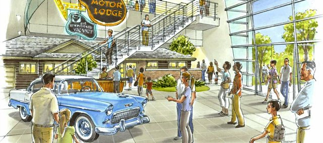 The Johnson County Museum of History's 2011 master plan calls for transforming the museum into a National Museum of Suburbia and Suburban Policy Forum, which might feature a lobby that looks something like this sketch. The museum would like to build a new facility somewhere in the county, but more realistically, they will continue searching for an existing building that could be expanded over time.
