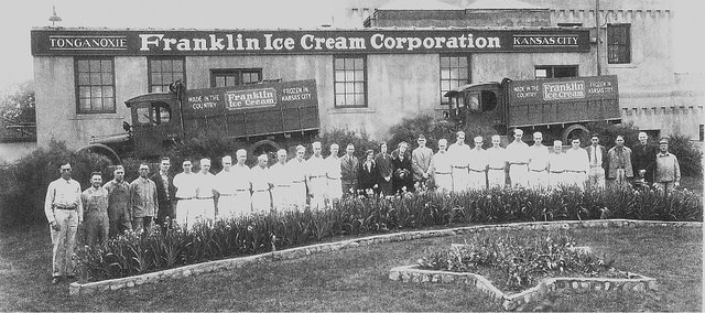 Employees of the Franklin Ice Cream Corporation pose for a group photo at the company's Tonganoxie facility sometime in the early decades of the last century. The city will take bids to tear down the long abandoned building after completing condemnation proceedings against the property this year.