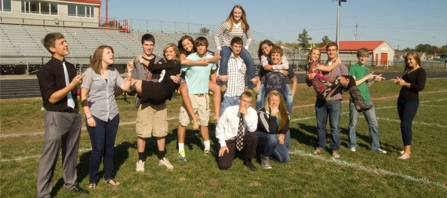 Tonganoxie High School is celebrating homecoming this week and here are this year's king and queen candidates: kneeling, from left, Matthew Briggs and Eva Drennan; standing, from left, Marcus Titterington, Chelsea Ogden, Dylan Jacobs, Brooklyn Kerbaugh, Mallory Smith, Dallas Jacobs, Megan Hummelgaard, Amos White, Shyanne Gergick, Ryan Lynch, Sagan Scates, Jonas Myers, Brady Field and Makayla Leslie. Coronation will be 6:30 p.m. Friday at Beatty Field.