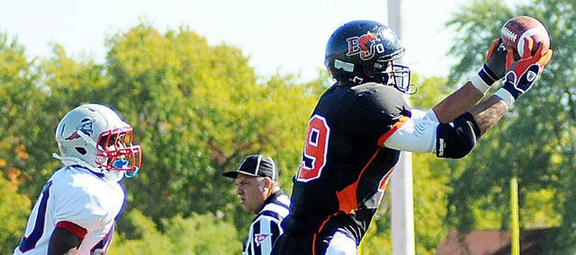 Baker University Joel Murphy catches a touchdown Saturday against MidAmerica Nazarene University.