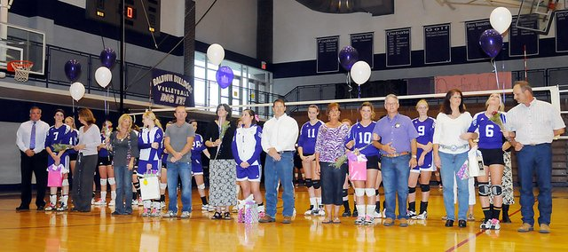 The Baldwin High School volleyball team celebrated its senior night on Tuesday. The five seniors, from left, are Madeline Brungardt, Lakyn Clark, Kaysha Green, Paris Nottingham and Taylor Stanley.