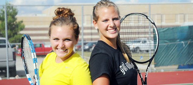 Baldwin High School seniors Kara Hoegerl, left, and Hayley Schwartz qualified for the Class 4A state tennis tournament for the second-straight year. They played sixth at the regional Saturday.
