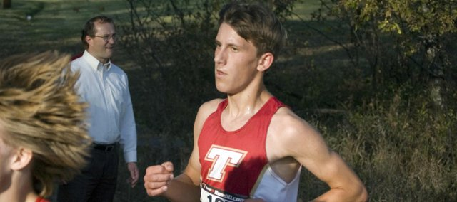 Tonganoxie High freshman Brad Andrews, one of three Chieftains to fill in Thursday at the Kaw Valley League Meet at Pierson County Park, in Kansas City, Kan., helped the THS boys take second place in the team standings.