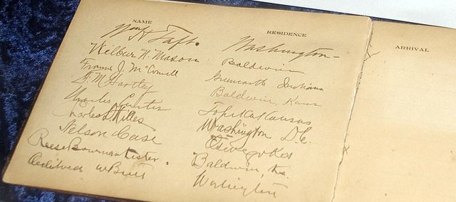 The signature of President William H. Taft appears in the Baker University guest book from his 1911 visit to the university.