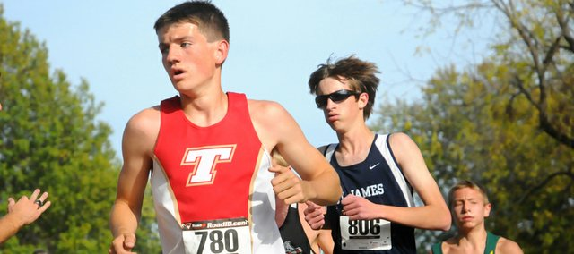 Tonganoxie High junior Jeff Neal runs Saturday at a Class 4A regional at Wyandotte County Park, in Bonner Springs. The Chieftains finished third at the meet to qualify for state.