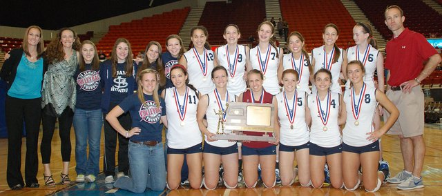 The 2011 Class 4A state champion St. James Academy Thunder. St. James won its fourth straight state title on Saturday, Oct. 29, at the Bicentennial Center in Salina.