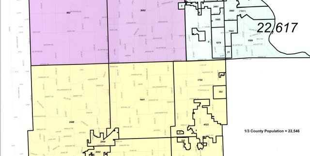 Leavenworth County's new commissioner districts will split most of the county's unincorporated areas between districts 1 and 3, leaving Lansing, Delaware Township and much of Leavenworth in District 2. Population figures are based on the 2010 Census.