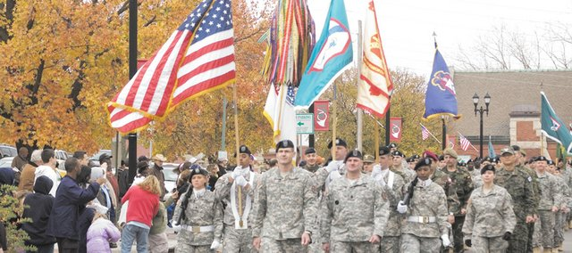 A unit from Fort Leavenworth marches in the 2010 Veterans Day Parade in Leavenworth, one of the largest parades of its type in the United States.