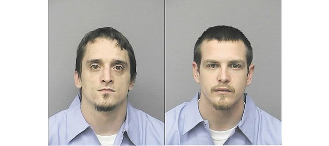 Matthew Glen Allender, left, and Chad Duane Amack were reported escaped Tuesday, Nov. 15, from Lansing Correctional Facility's minimum-security unit. Prison officials say the two should be considered armed and dangerous.