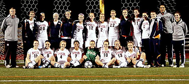 The Baker University women's soccer team won the Heart of America Athletic Conference championship for the second-straight year on Saturday. BU beat Graceland 2-1.