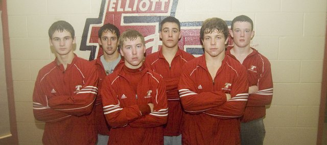 Tonganoxie High School wrestlers open the season Dec. 3 at Wamego. Seniors are, front row, from left, Anthony Baker, Jake Spencer and Ryan Lynch; back row, from left, Caleb Himpel, Adam Thomas and Matt Soetaert.