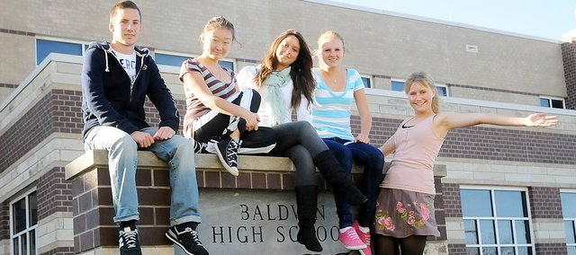 Baldwin High School has five foreign exchange students this year. They are, from left, Lucas Boehme (Germany), Irina Soy (Turkmenistan), Gabriela Antunues (Brazil), Miriam Conath (Germany) and Linna Fredstrom (Sweden). They are all enjoying their time at BHS and in Baldwin City.