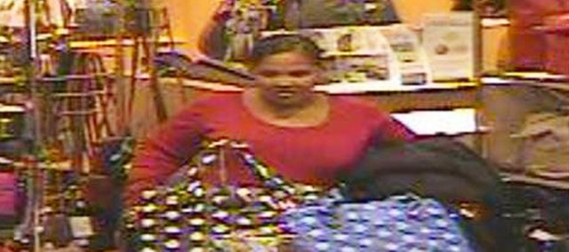 This woman, captured by Nordstrom surveillance cameras Nov. 11, is suspected of trying to steal $1,300 in merchandise that day and successfully stealing $1,000 in merchandise on Nov. 19, according to Overland Park police.