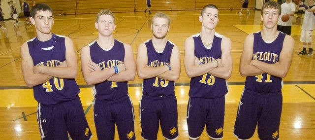 This year's McLouth High boys basketball seniors are, from left, Gavin Swearngen, Shawn Dailey, Calvin Booth, Tim Coulter and Cody McHenry. The Bulldogs look to build on last year's 8-13 mark with several players with substantial varsity experience back for the 2011-12 season.