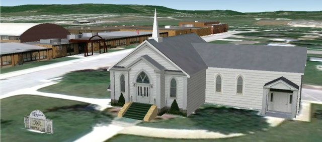 Former Tonganoxie resident Cody Edwards created three-dimensional images of many city structures, including this one of the Tonganoxie Congregational Church and Tonganoxie Elementary School before moving to Colorado in November­­­­. His work can be viewed on Google Earth or Google Maps.