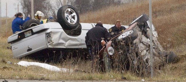 A two-vehicle accident Monday, Dec. 12, 2011, claimed the life of a woman and sent one man to Kansas University Hospital by air ambulance. The man was driving a Dodge truck, while the woman was driving a Volkswagen Beetle near Leavenworth County Road 1 and Hemphill Road.