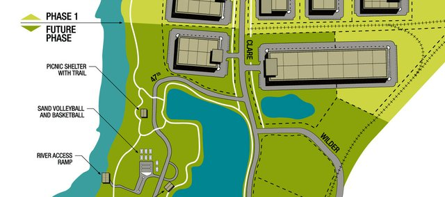 An 182-acre tract of empty land flanked by the Kansas River and Kansas Highway 7 is envisioned to one day become the Shawnee Eco-Commerce Center, an environmentally friendly business park development and recreational riverfront park. The city and the Shawnee Economic Development Council created a promotional pamphlet for the site, including this conceptual sketch.