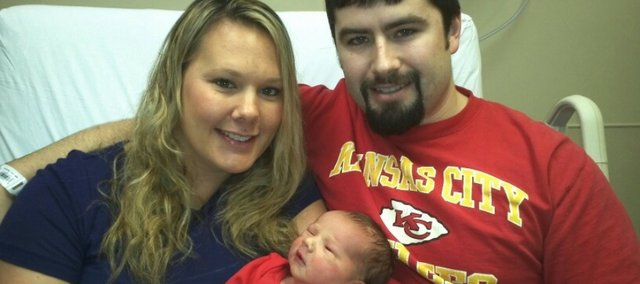 Sondra and Derek Sparks rang in the new year with their first child, Mason Gabriel Sparks. The couples first child was born early Monday morning at the Overland Park Medical Center. 