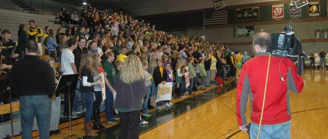 "The crowd stands as the KCTV5 ""Cool School of the Week"" broadcast at Basehor-Linwood High School is about to begin at about 6 a.m. Friday."