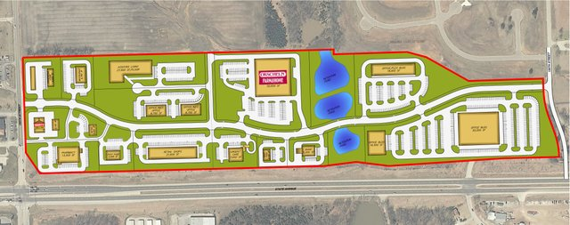 This drawing, courtesy of Zimmer Real Estate Services, shows the firm's preliminary plan for the development of Basehor's Wolf Creek area. The plan includes a realignment of 150th Street near U.S. Highway 24-40.