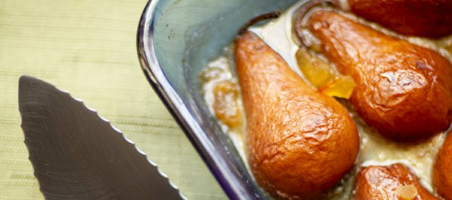 Megan Stuke's Poached pears in crystalized ginger with vanilla ice cream.