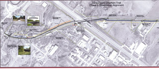 Conceptual plan for Chieftain Trails extension. The trail is to be on the Jan. 23 agenda of the Tonganoxie City Council.