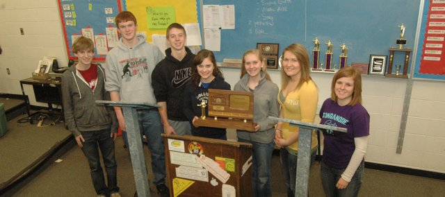 The Tonganoxie High debate team advanced to state for the 19th consecutive year with its trip earlier this month to Class 4A state in Silver Lake. The squad had third- and fourth-place finishes this year. Pictured from left, seniors Brady Field, Dane Erickson, Ben Williams, Maggie Gripka, Natasha Sudac, Parker Osborne and Lindsey Truesdell. Not pictured is Patrick Rachford.