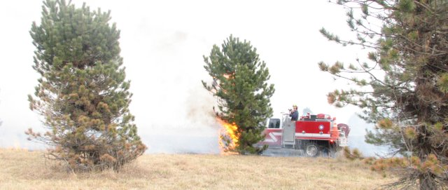 Leavenworth County Fire District No. 1 firefighters extinguish the last of the flames remaining from a grass fire at Wilderson Tree Farm in Basehor on Thursday. Four different fire departments responded, and it took them about 45 minutes to get the blaze under control.