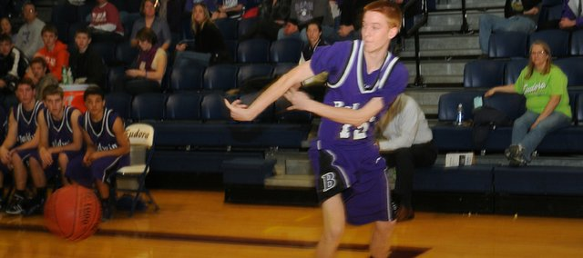 Baldwin senior Tucker Brown saves a ball from going out of bounds late in the Bulldogs' 30-24 defeat Tuesday at Eudora.