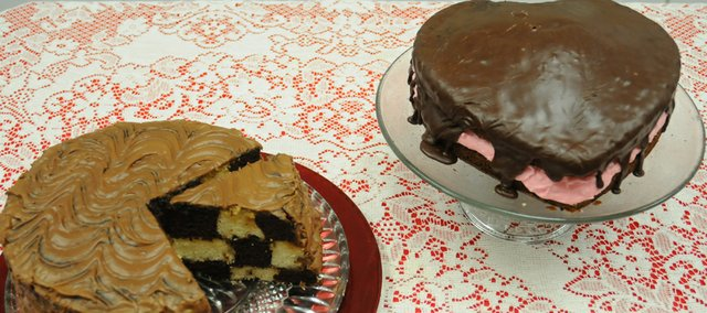 Cakes available at Sunday's Baldwin City Lumberyard Arts Council Chocolate Auction will include a checkerboard cake from Sandy Cardens and a heart-shaped Valentine peppermint chocolate cake from Sherry Bowdens. Both women are board members in the Lumberyard Arts Center.