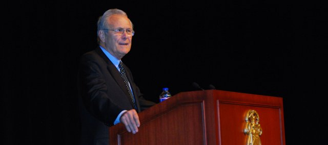 Former defense secretary Donald Rumsfeld speaks at the Lewis and Clark Center on Fort Leavenworth on Friday, Feb. 24, 2012.