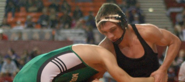 Mark Hobson was one of two Braves to make an appearance in the state finals Saturday in Salina.