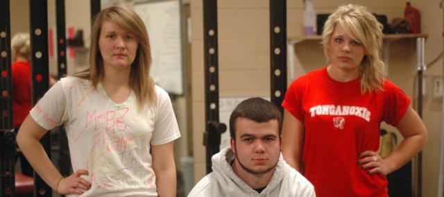 The THS seniors will compete in their final powerlifting meet Saturday. Pictured, from left, are Parker Osborne, Tyler Stockman and Makayla Sample. Not pictured is Derek Lingo.