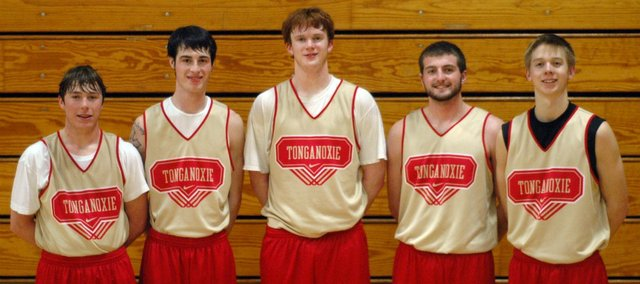 The Chieftain basketball seniors played their final home game Tuesday. Pictured, from left, are Colby Yates, Dylan Jacobs, Dane Erickson, Brady Waldeier and Ben Williams.