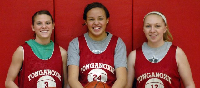 This year's THS girls team has been led by three seniors. Pictured, from left, are Haley Smith, Tavia Brown and Amanda Holroyd.