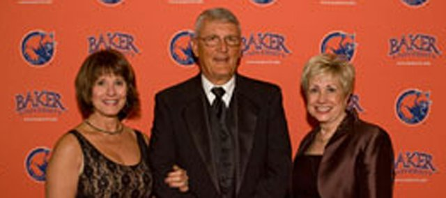 Christine Hartley (left), Ross Hartley and Baker University President Pat Long pose at Saturday university gala and auction in Overland Park. It was announced at the gala the Hartleys had donated $1.6 million toward Mulvane Hall transformation.