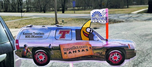 The Flat Burbana is making its way through Tonganoxie. The cutout of a sport-utility vehicle is part of a statewide promotion through the state tourism department.
