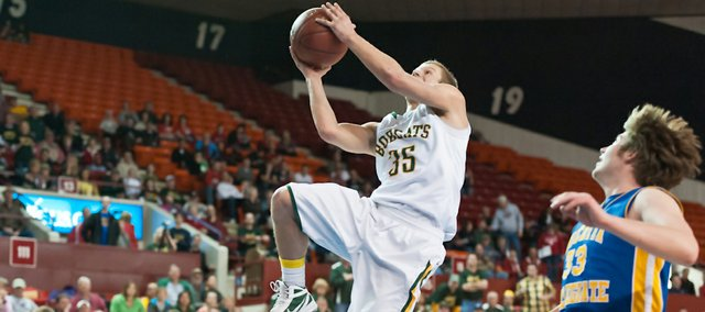 Chase Younger goes for a basket during the Bobcats' 67-58 win against Wichita-Collegiate Thursday. Basehor-Linwood advanced to play Pratt on Friday in the Class 4A state tournament semi-final round.