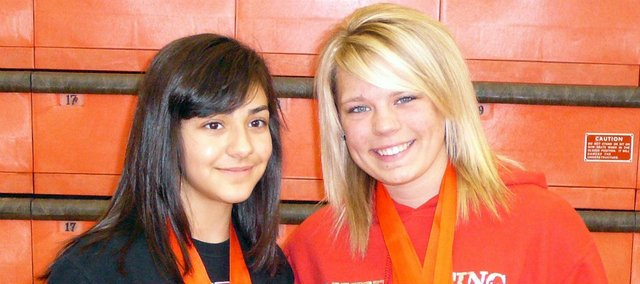 Sophomore Jessica Rubio, left, and senior Makayla Sample helped the THS girls to a third-place finish at the Class 4A state powerlifting meet March 3 in Abilene.