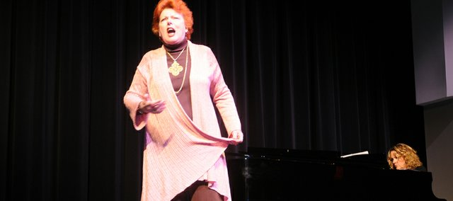 Joyce Castle sings one of the three songs with which she concluded her remarks last Thursday at the Baldwin Education Foundation's annual luncheon. Castle, a mezzo soprano with the New York City and Metropolitan operas for nearly 49 years with this year's distinguished alumna for the event.