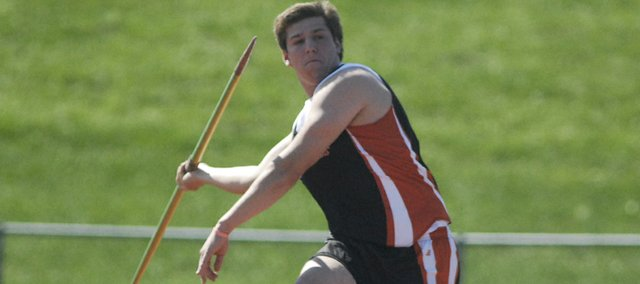Shawnee Mission Northwest senior Eric Pinkleman finished first in the javelin throw on Saturday at the Second Annual Johnson County Community College Invitational. Pinkleman's 183-foot throw bested his previous personal record by 10 feet. Fellow senior Brett Bachelor finished second with a 140-foot throw. For complete coverage, including additional photos and news of more personal bests, stay tuned to shawneedispatch.com.