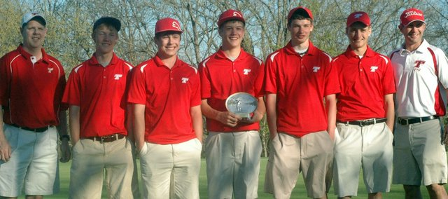 The THS golf team won the 13th annual Sunflower Classic Saturday in Bonner Springs. Pictured, from left, are assistant coach David Walker, Kody Campbell, Colby Yates, Tanner Hale, Aaron Williams, Tyler Hall and head coach Jared Jackson.
