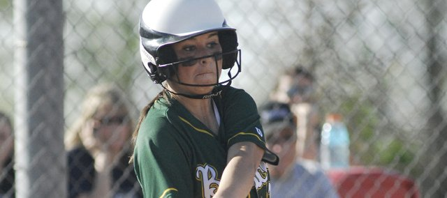 Candice Jennings takes a swing in the Bobcats' first of two games against Mill Valley on Monday. Basehor-Linwood was swept, each game a 4-1 loss.