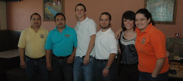 Jalapenos restaurant opened for business Monday, April 2, 2012, in Tonganoxie. Some of the staff pictured are, from left, general manager Valente Hernandez, owner Francisco Mendez, Jordan Davis, Joshua Ferris, Anna Terry and Flor Flores.