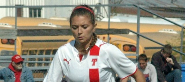 Shyanne Gergick scored her first goal of the season in Tonganoxie High's 3-1 win over Bishop Ward.