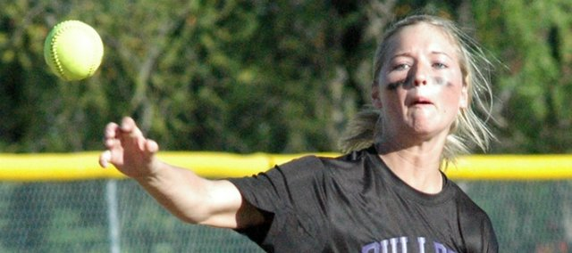 Senior Morgan Drinnon went a combined 6-of-8 in McLouth's two-game sweep at Atchison.