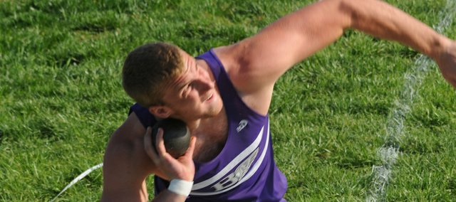 Baldwin junior Dayton Valentine uncorks one of his 55-plus feet tosses Tuesday in the shot put at the Baker Relays. He has the second-best distance in the event this year for all classes in the state.
