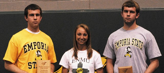 On Thursday, Basehor-Linwood High School seniors Colin and Ryan Murphy were named co-male athletes of the year, and senior Hannah Tush was named female athlete of the year for 2012.