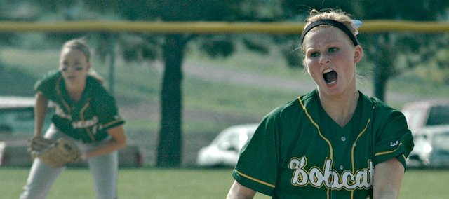 Brooke Redmond struck out a combined 23 hitters Tuesday in Basehor-Linwood's sweep of Tonganoxie.